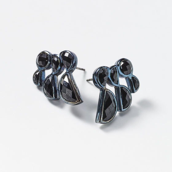 Prawn Earrings - Black Spinel