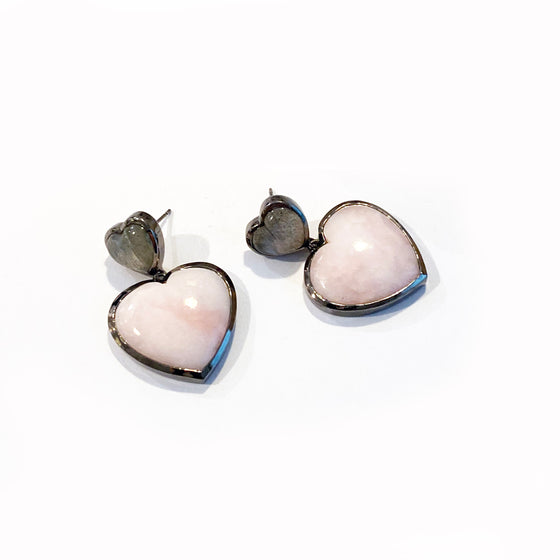 Double Heart Drop Earrings - Pink Opal & Labradorite