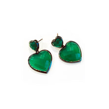 Double Heart Drop Earrings - Green Onyx