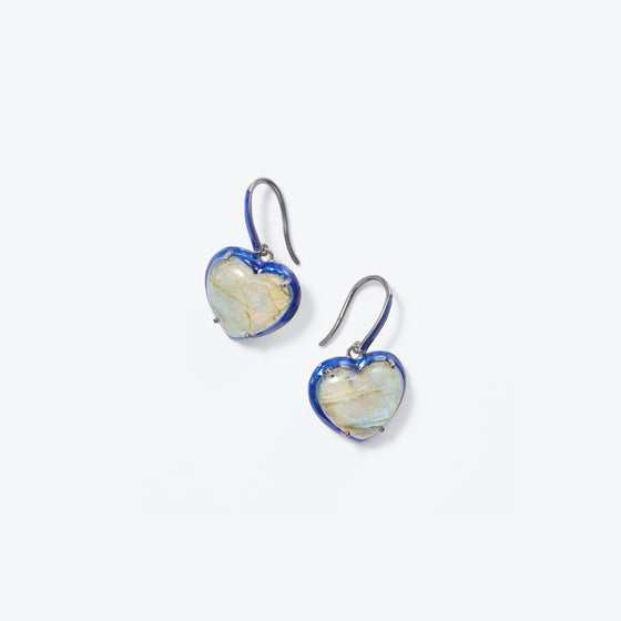 Small Blue Enameled Heart Drop Earrings - Labradorite