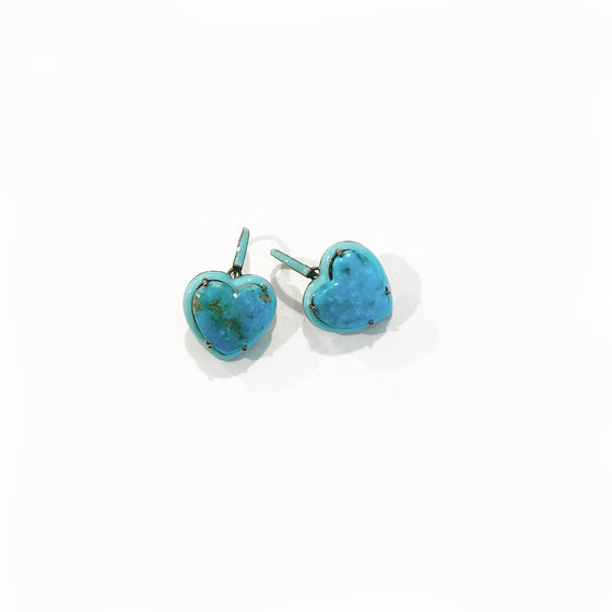 Small Turquoise Enameled Heart Drop Earrings - Turquoise