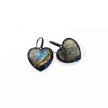 Medium Blue Enameled Heart Drop Earrings - Labradorite