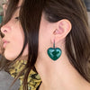 Large Emerald Enameled Heart Drop Earrings - Green Onyx
