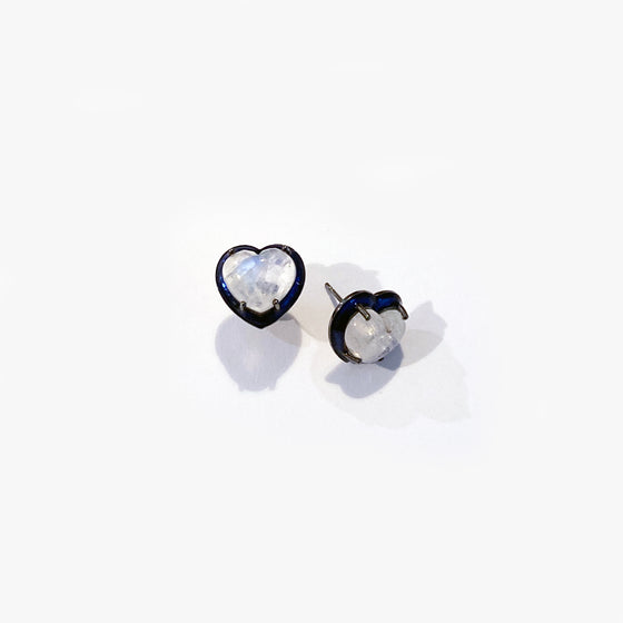 Small Blue Enameled Heart Studs - Rainbow Moonstone