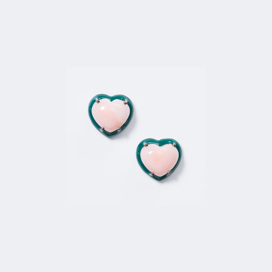 Small Emerald Enameled Heart Studs - Pink Opal
