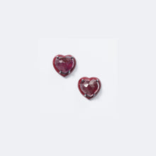Small Red Enameled Heart Studs - Ruby