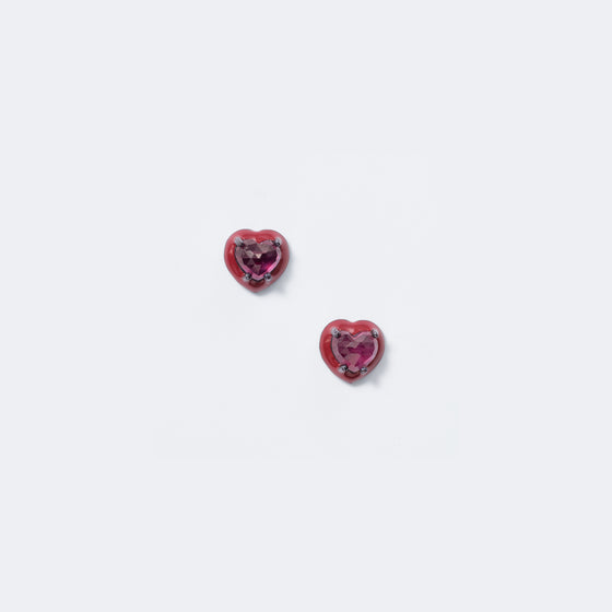 Mini Red Enameled Heart Studs - Ruby