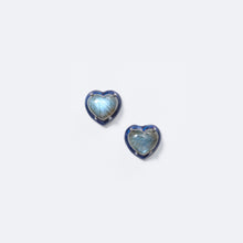 Small Blue Enameled Heart Studs - Labradorite