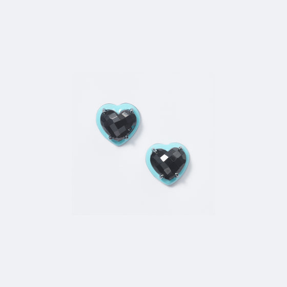 Small Turquoise Blue Enameled Heart Studs - Black Spinel