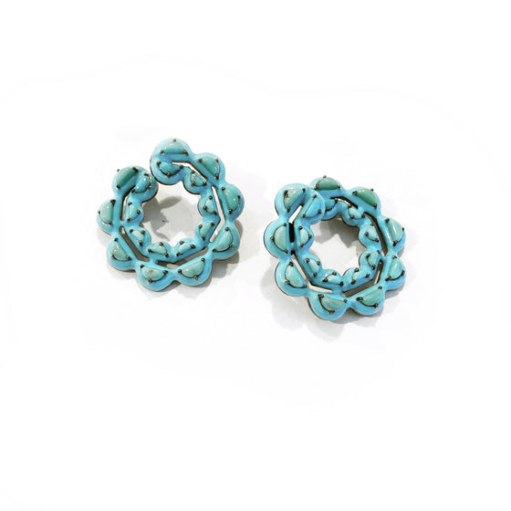 Caterpillar Turquoise Enameled Bypass Hoops - Turquoise