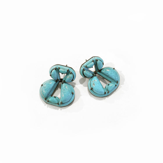 Infinity Turquoise Enameled Earrings - Turquoise