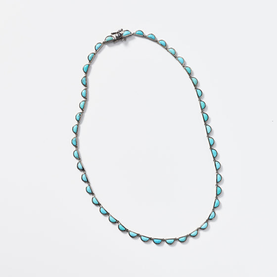 Small Scallop Riviere Necklace - Turquoise