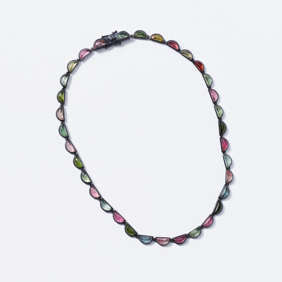 Large Scallop Riviere Necklace - Multi Tourmaline