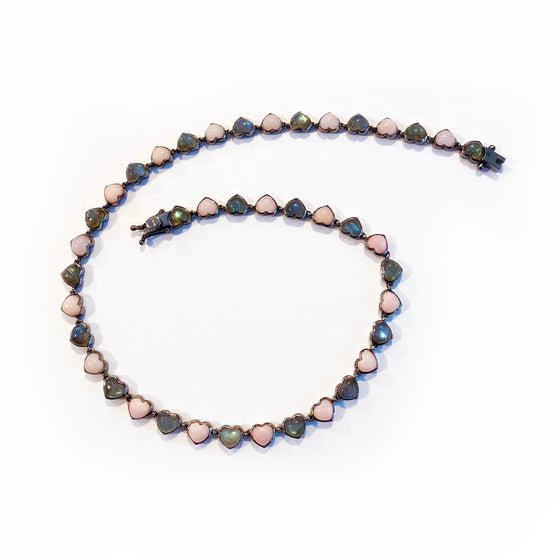 Small Heart Riviere Necklace - Pink Opal & Labradorite