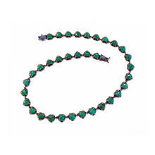 Small Emerald Enameled Heart Riviere Necklace - Green Onyx