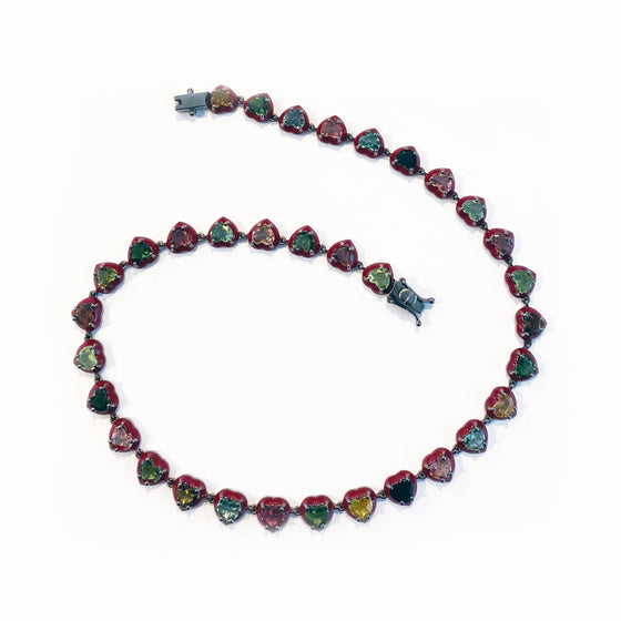 Small Red Enameled Heart Riviere Necklace - Multi Tourmaline