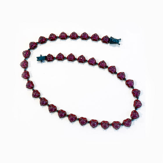 Small Red Enameled Heart Riviere Necklace - Ruby