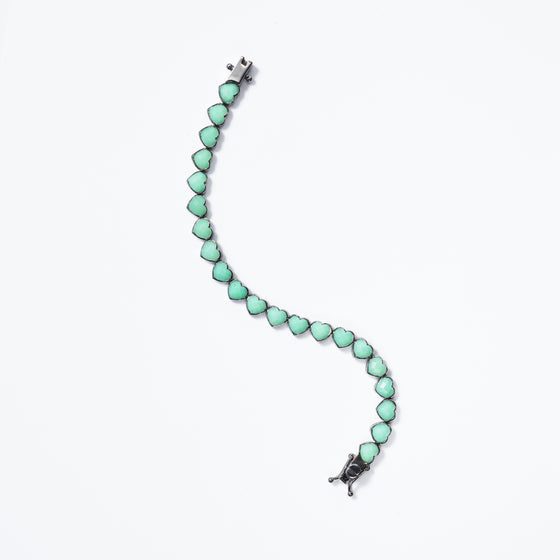 Small Heart Bracelet - Chrysoprase