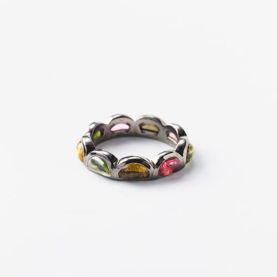Small Scallop Band Ring - Multi Tourmaline