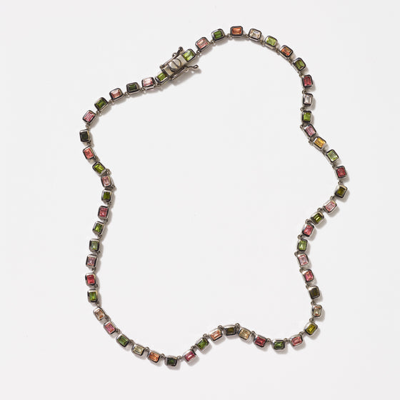 Mini Deco-Tile Riviere Necklace - Multi Tourmaline