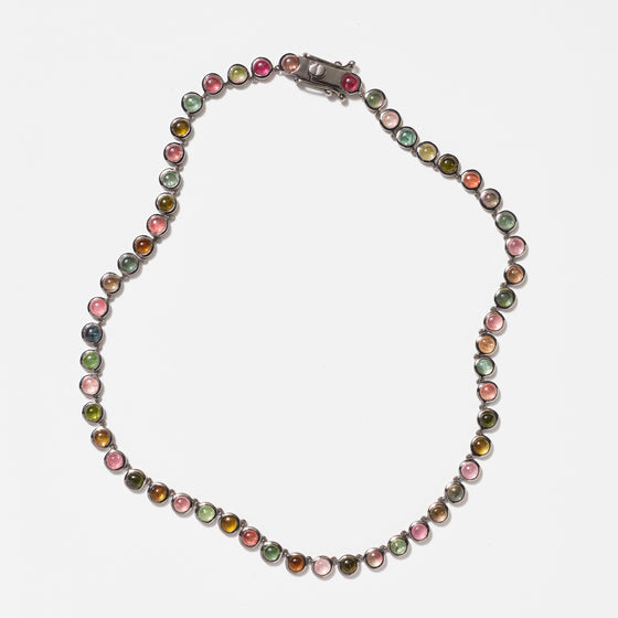Mini Dot Riviere Necklace - Multi Tourmaline