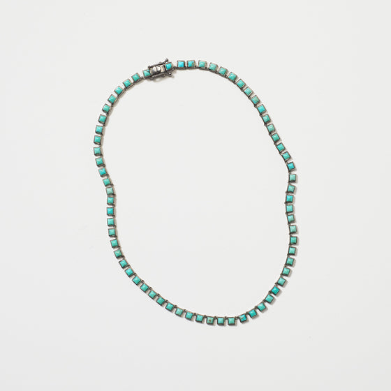 Mini Tile Riviere Necklace - Turquoise