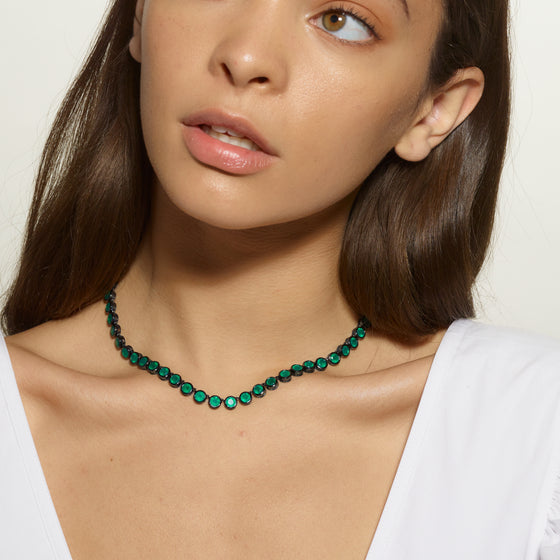 Small Brilliant Riviere Necklace - Green Onyx