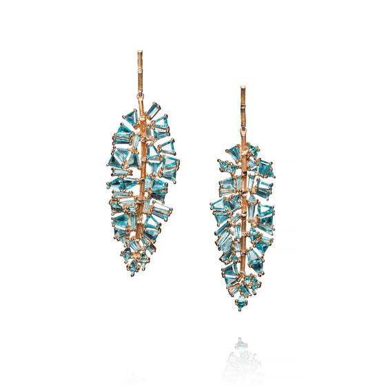 Bahia Banana Leaf Earrings - Blue Zircon