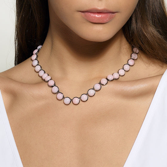 Large Dot Riviere Necklace - Pink Opal