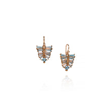 Petite Pleated Leaf Earrings - Aquamarine