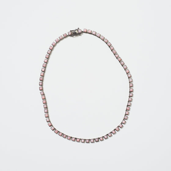 Mini Tile Riviere Necklace - Pink Opal