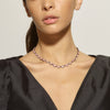 Large Scallop Riviere Necklace - Pink Opal