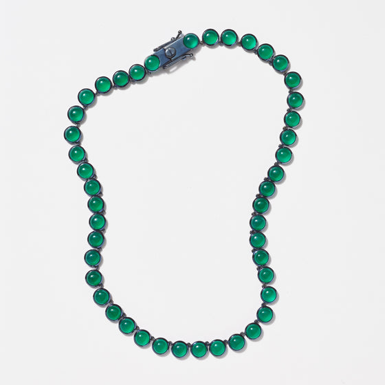 Small Dot Riviere Necklace - Green Onyx