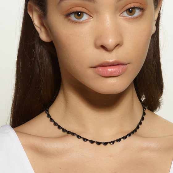 Small Scallop Riviere Necklace - Black Spinel