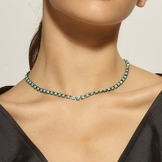 Small Tile Riviere Necklace - Turquoise