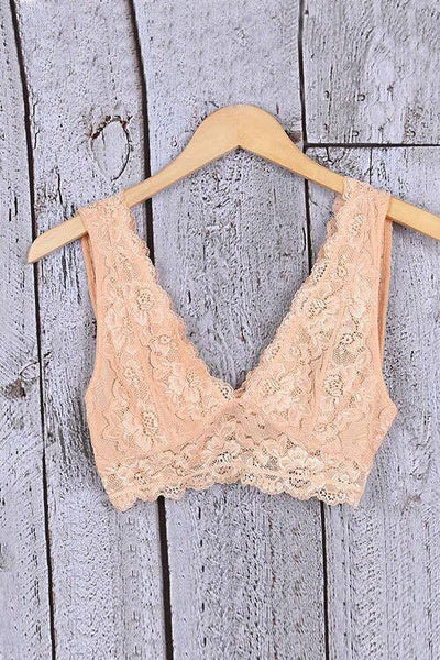 V- neck lace bralette- blush