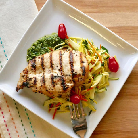 Arugula Pesto Grilled Chicken Over Italian Zoodles