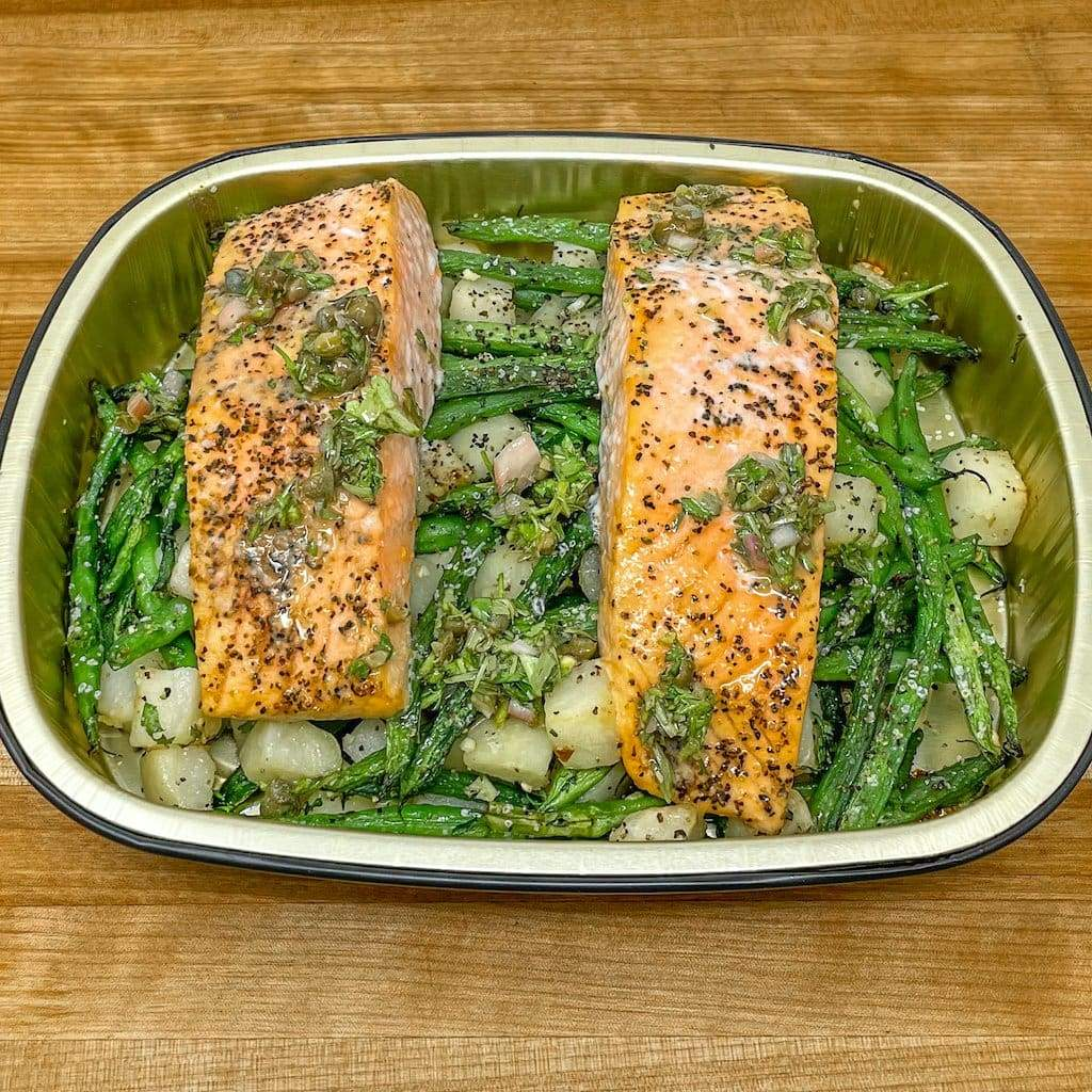 Baked Salmon with Roasted Potatoes & Green Beans For Two
