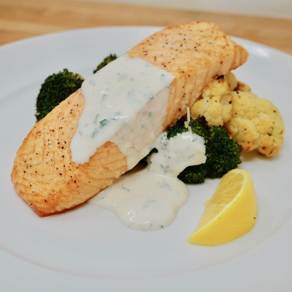 Baked Salmon with Lemon Garlic Cream Sauce