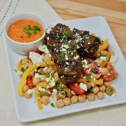 Beef & Lamb Kebabs with a Warm Garbanzo Salad