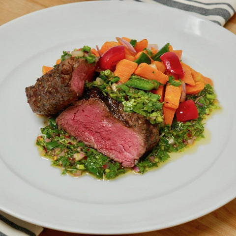 Chermoula Grilled Sirloin Steak with Homestyle Sweet Potato Hash