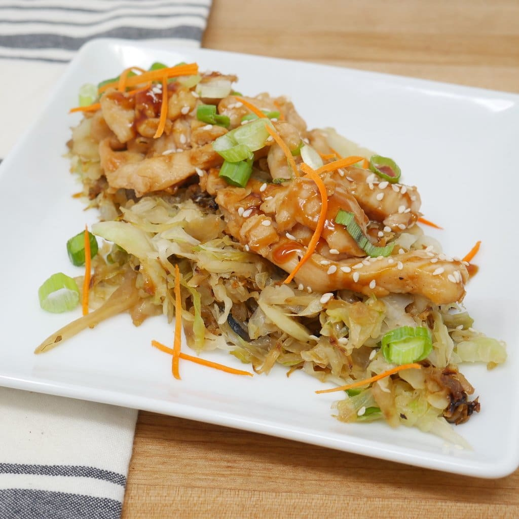 Chicken Teriyaki Over Wok Fried Cabbage