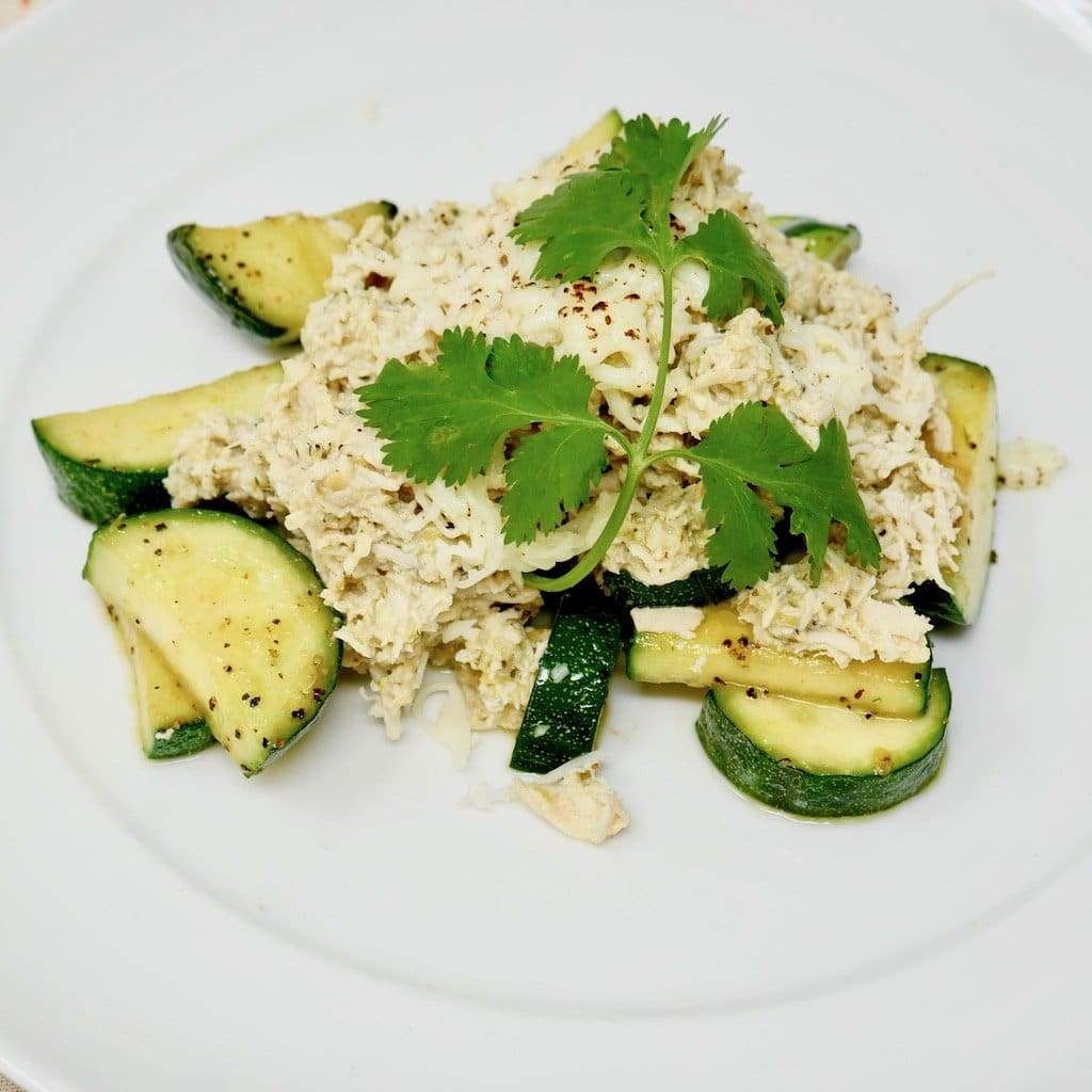Spicy Green Chile Chicken Over Sauteed Zucchini