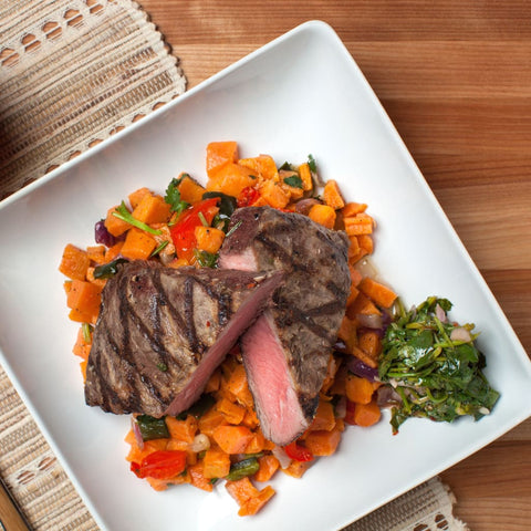 Flat-Iron Steak W/ Homestyle Sweet Potato Hash