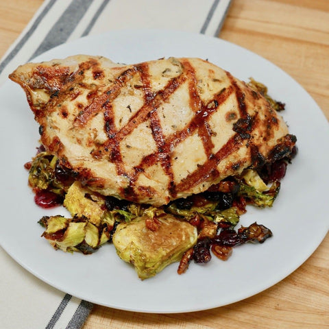 Grilled Chicken Over Brussel Sprout Succotash