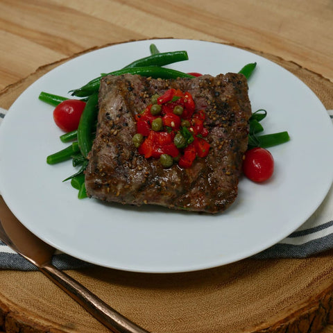 Grilled Flat-Iron Steak Over Buttered Green Beans And Red Pepper Relish