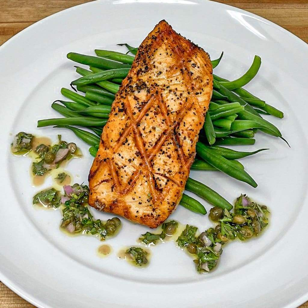 Grilled Salmon with Buttered Green Beans