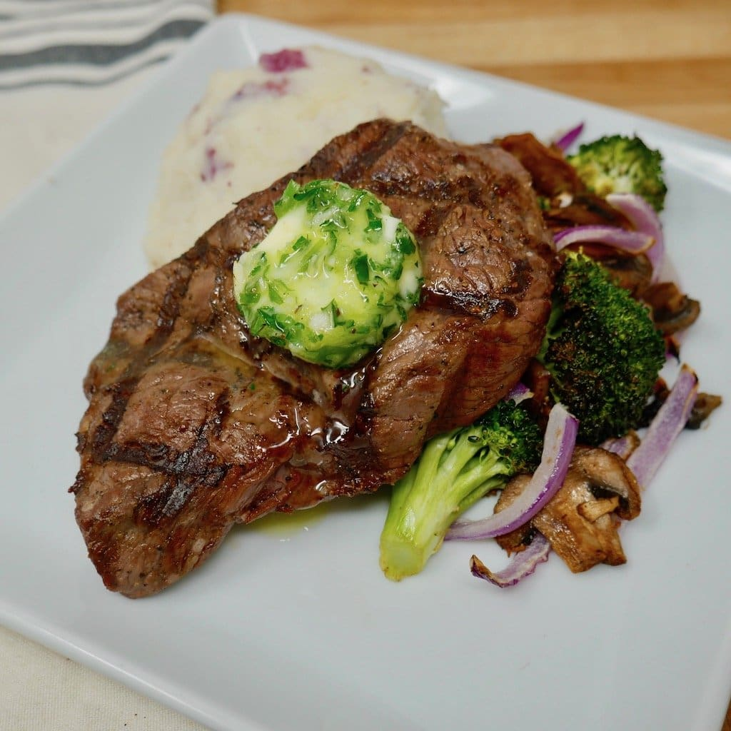 Grilled Sirloin Steak with Garlic Scallion Butter