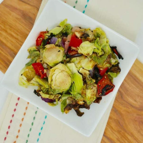 Roasted Brussels With Red Bell Peppers - 2 Lbs