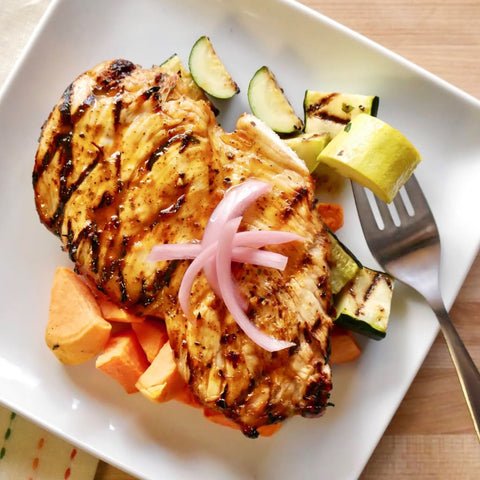 Tequila Marinated Chicken Over Grilled Zucchini